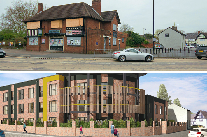 The Ship Inn (2016) and artistic render due for completion spring 2019