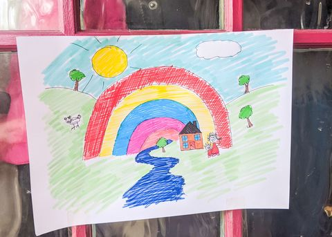 Isolation creation example rainbow picture on a door