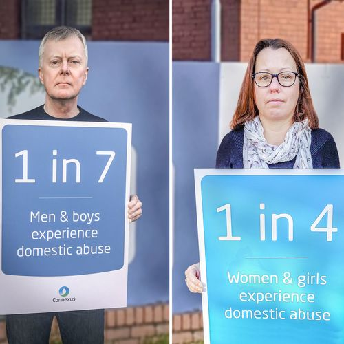 Richard and Christine with Domestic Abuse stats